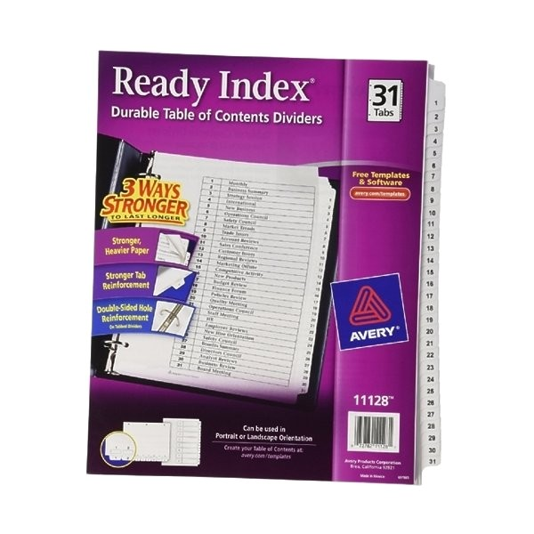 Avery Ready Index Template 31 Tab Avery Ready Index Classic Tab Titles 31 Tab 1 31 Letter