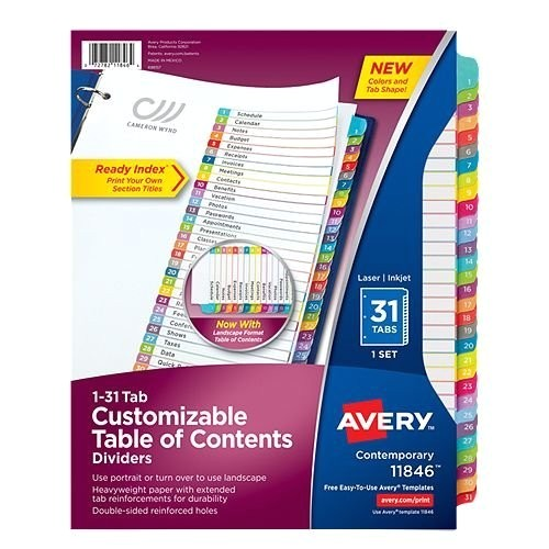 avery ready index customizable table of contents multicolor 1 31 tab preprinted dividers 1 set