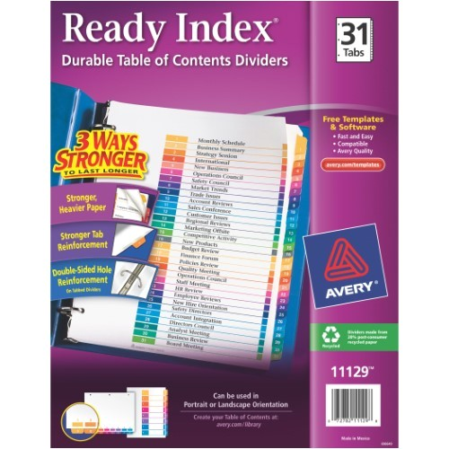 Avery Ready Index Template 31 Tab Avery Ready Index Table Of Contents Dividers 31 Tab Set