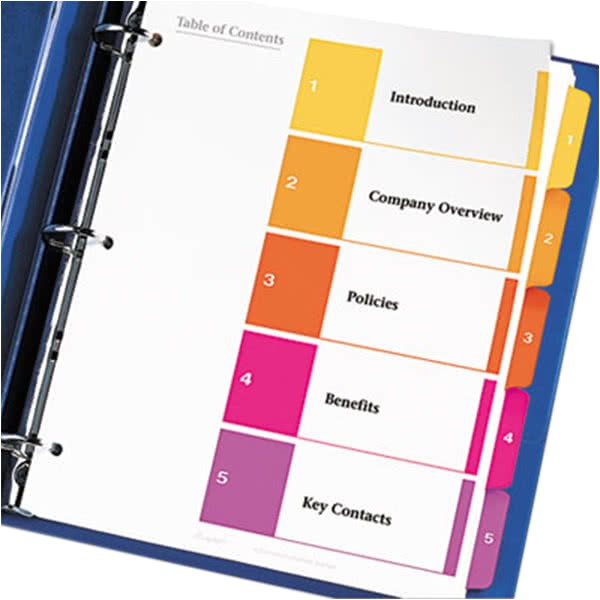 Avery Ready Index Template 5 Tab 11187 Avery 11187 Ready Index 5 Tab Multi Color Table Of