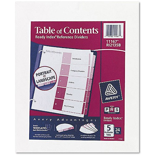 Avery Ready Index Template 5 Tab 11187 Avery Uncollated Index Divider Printed1 to 5 5 Tab S