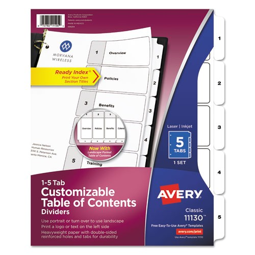 ready index customizable table of contents black and white dividers 5 tab letter ave11130