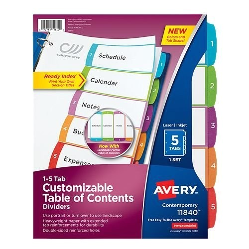avery ready index customizable table of contents multicolor 1 5 tab preprinted dividers 1 set