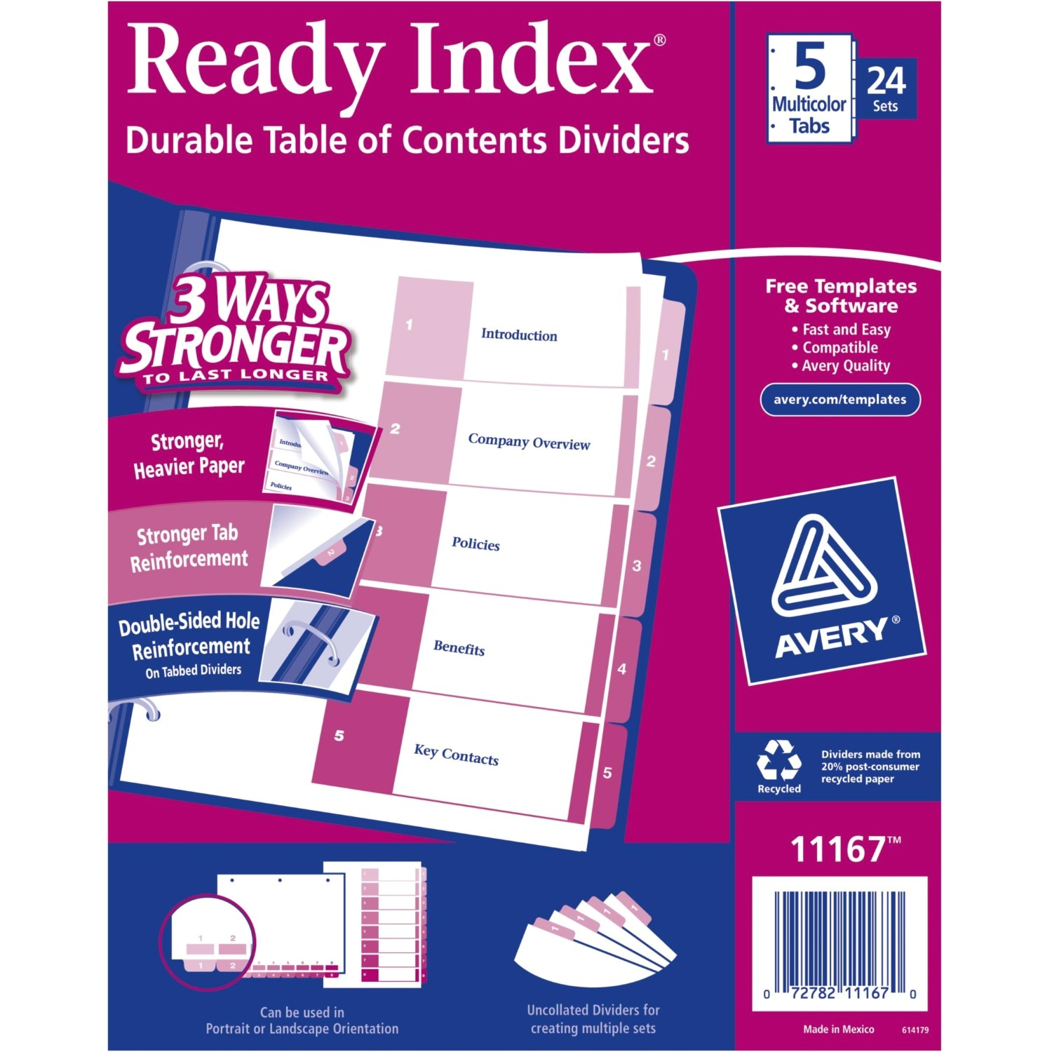 Avery Ready Index Template 5 Tab Color Avery Ready Index Table Of Contents Dividers 5 Tab
