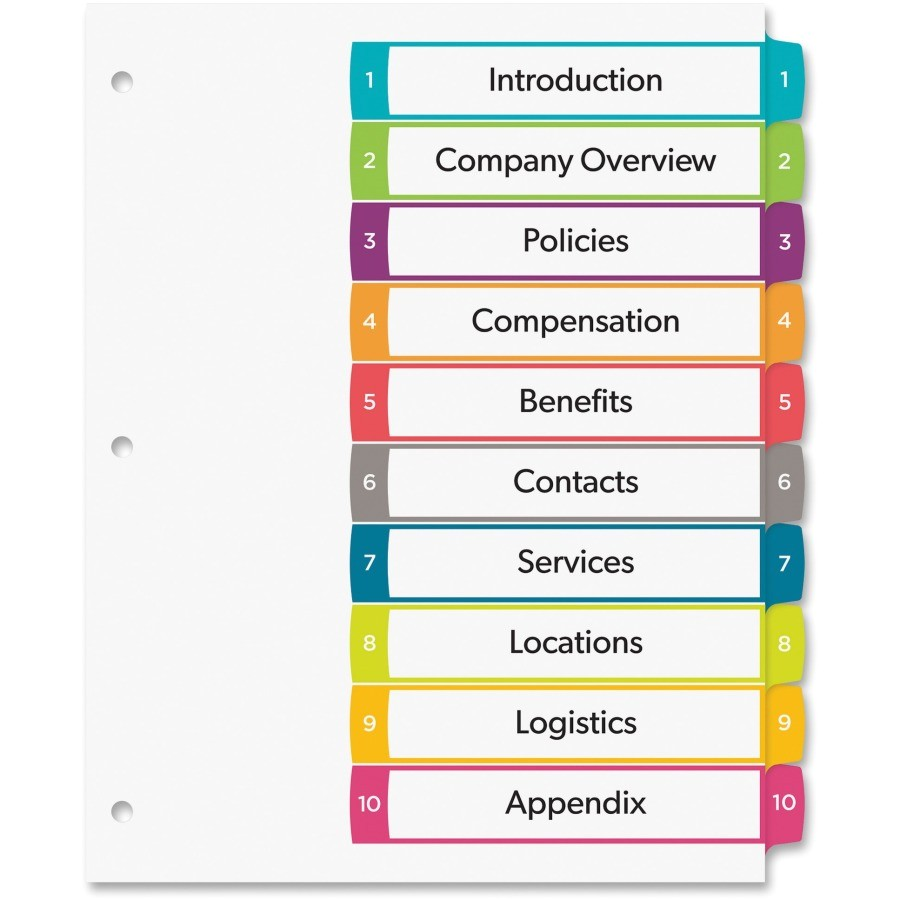 Avery Ready Index Template Avery Ready Index Customizable Table Of Contents