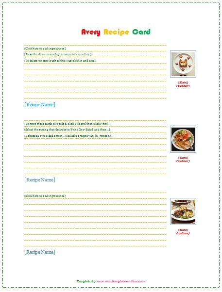 Avery Recipe Card Template Avery Recipe Card Template