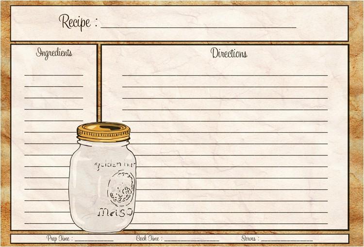 mason jar recipe card 4x6 pdf