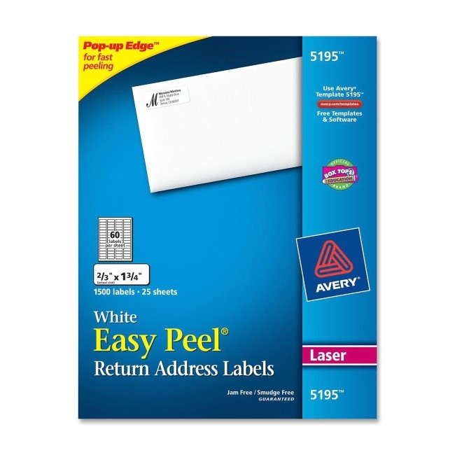 avery 5195 easy peel return address label white