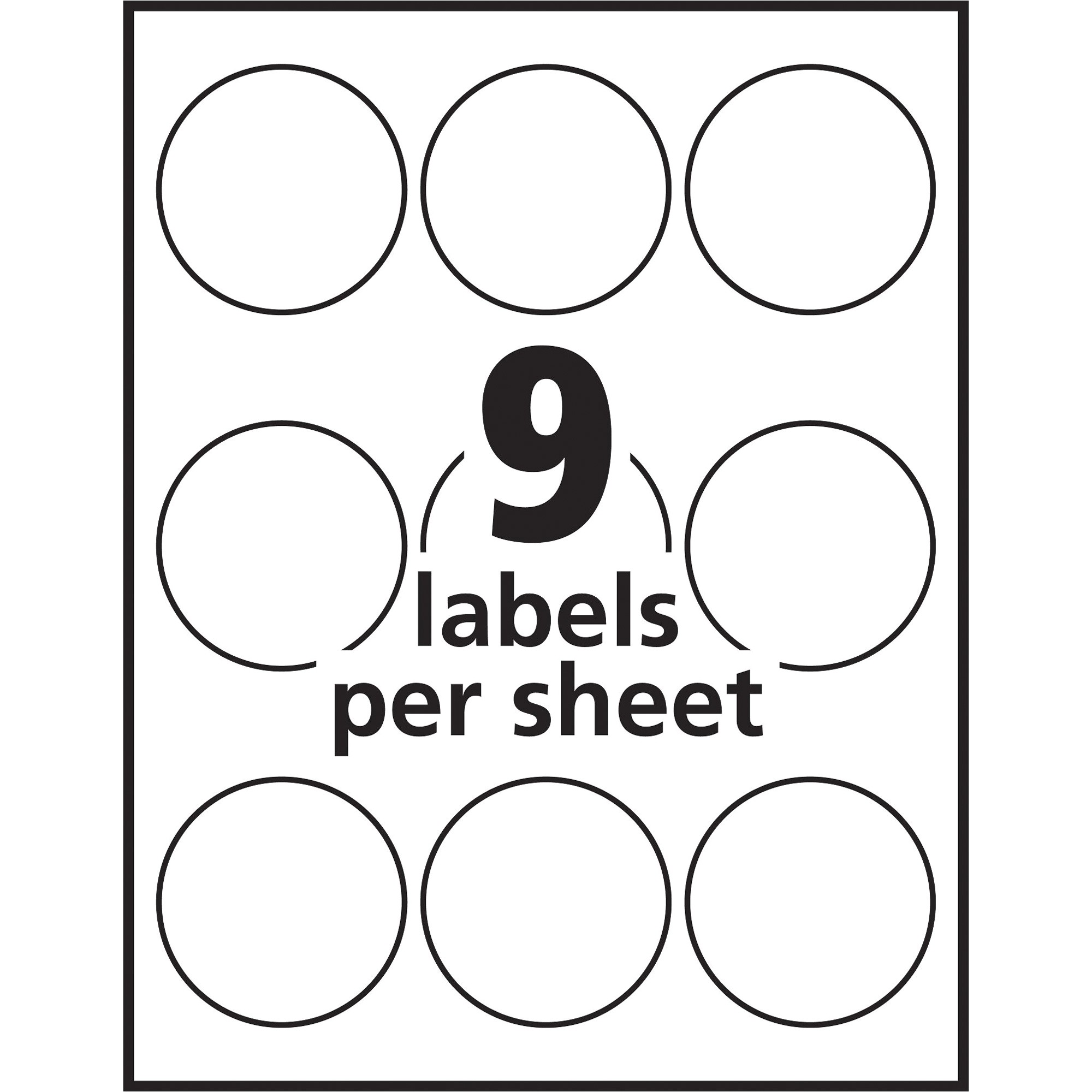 avery white print to the edge round labels ave22830
