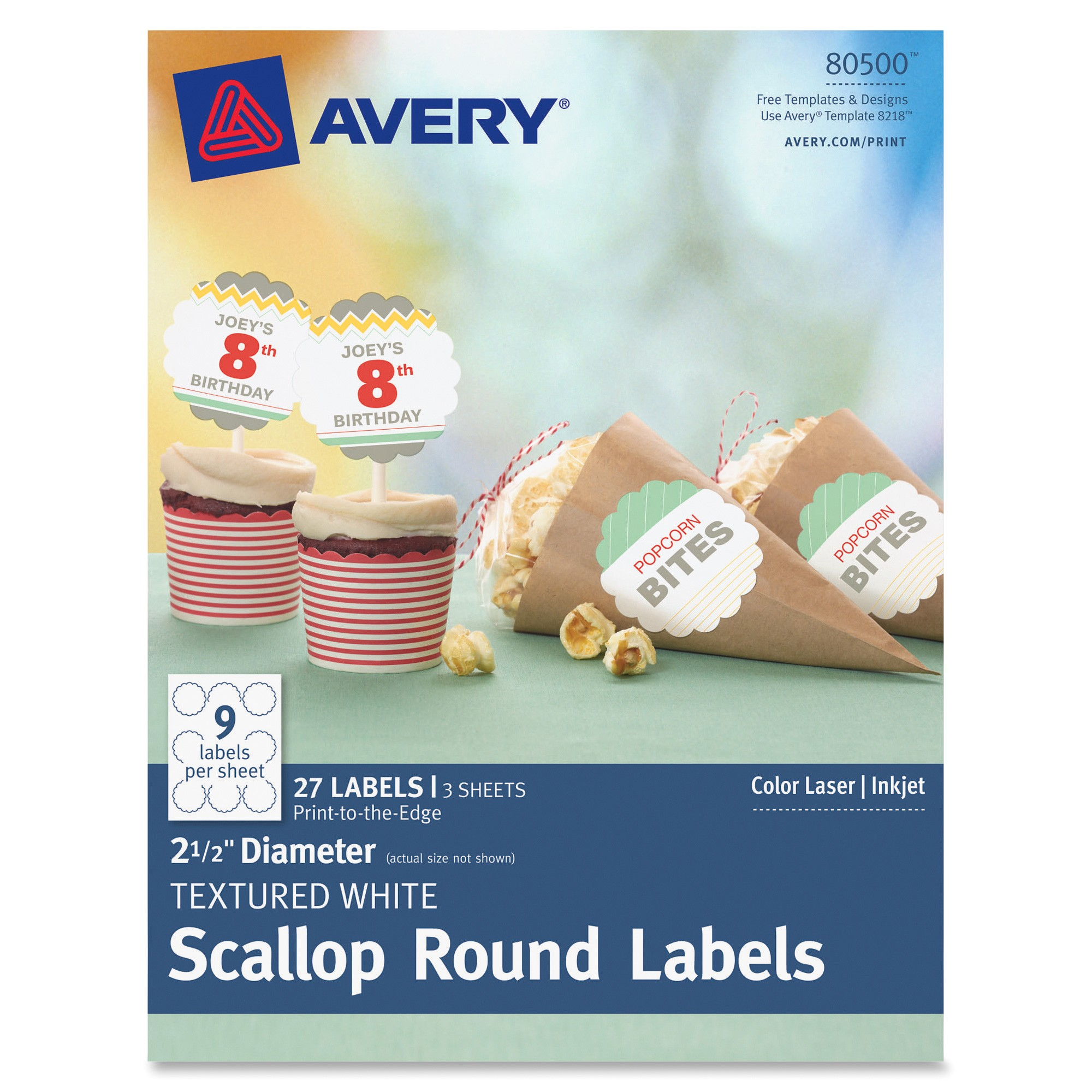 ave80500 avery textured white scallop round labels 80500 21 2 diameter pack of 27