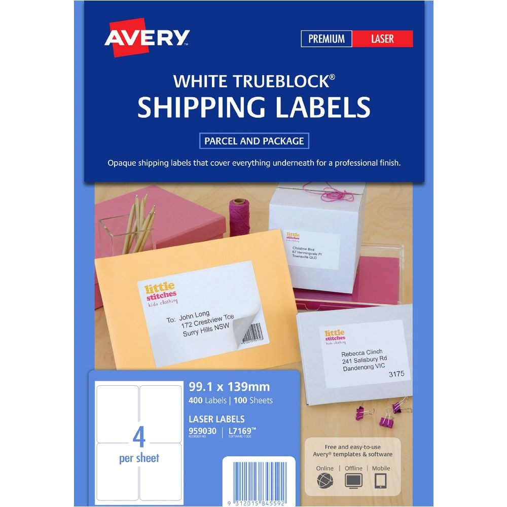 avery laser shipping labels white 100 sheets 4 per page av959030