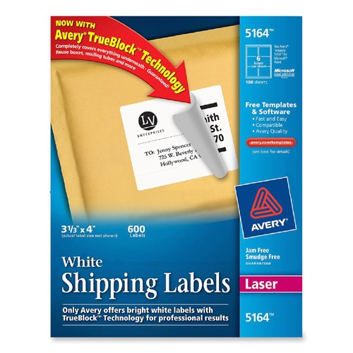Avery Shipping Label Template 5164 Printer