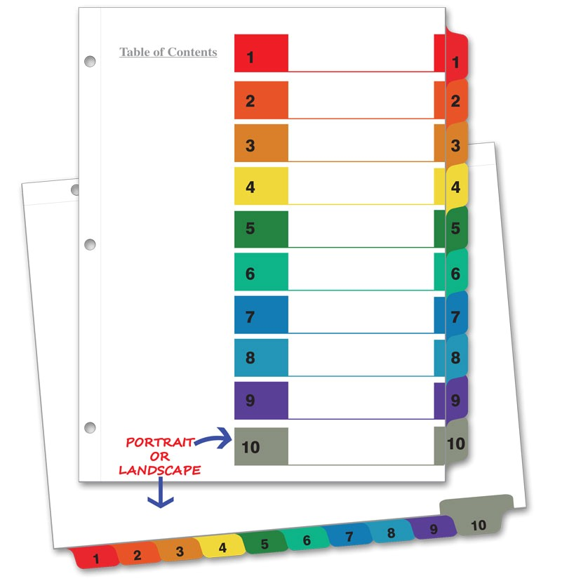 avery 10 tab color template