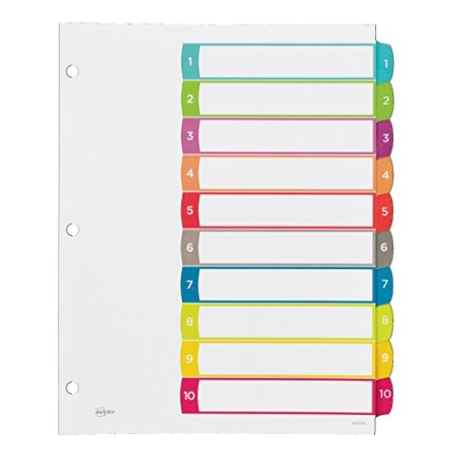 Avery Table Of Contents Template 10 Tab Avery Customizable Table Of Contents Dividers 10 Tab Set