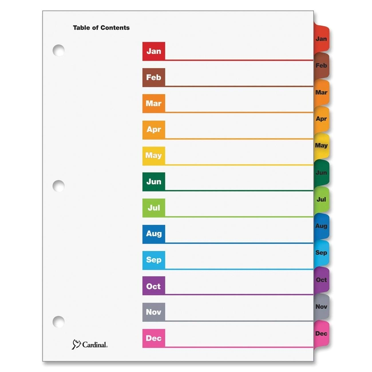 avery table of contents template 10 tab