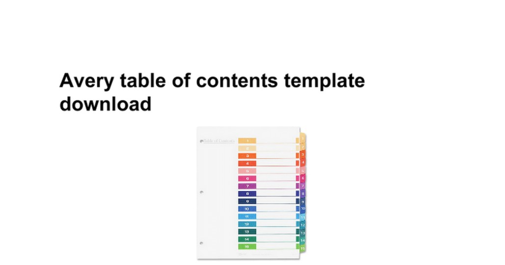 21 avery table of contents template 15 tab efficient