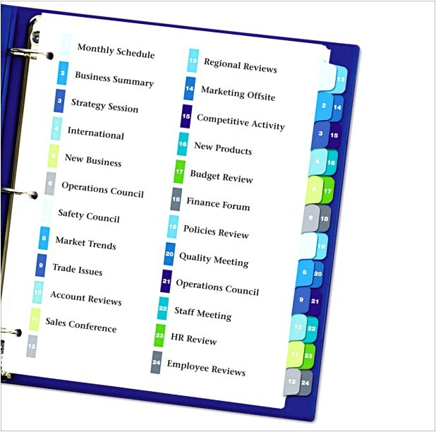 avery table of contents template 15 tab