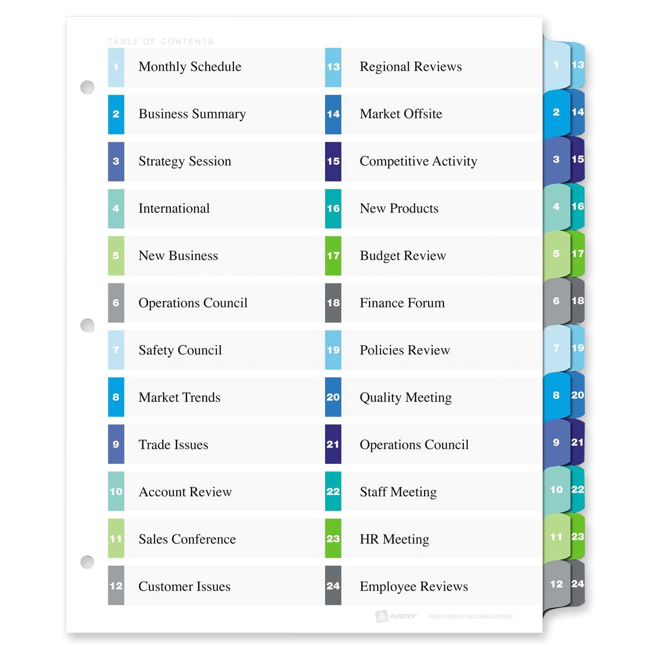Avery Table Of Contents Template 24 Tab Avery 11321 Two Column Table Contents Dividers W Tabs 24