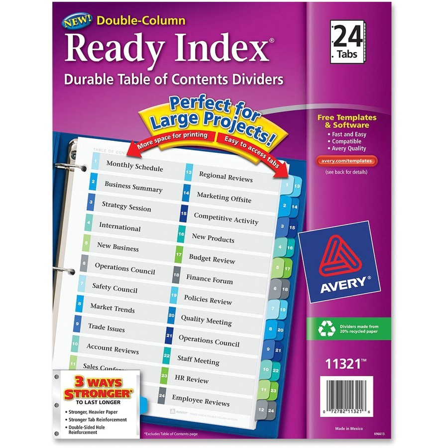 avery ready index customizable table of contents double column dividers ave11321
