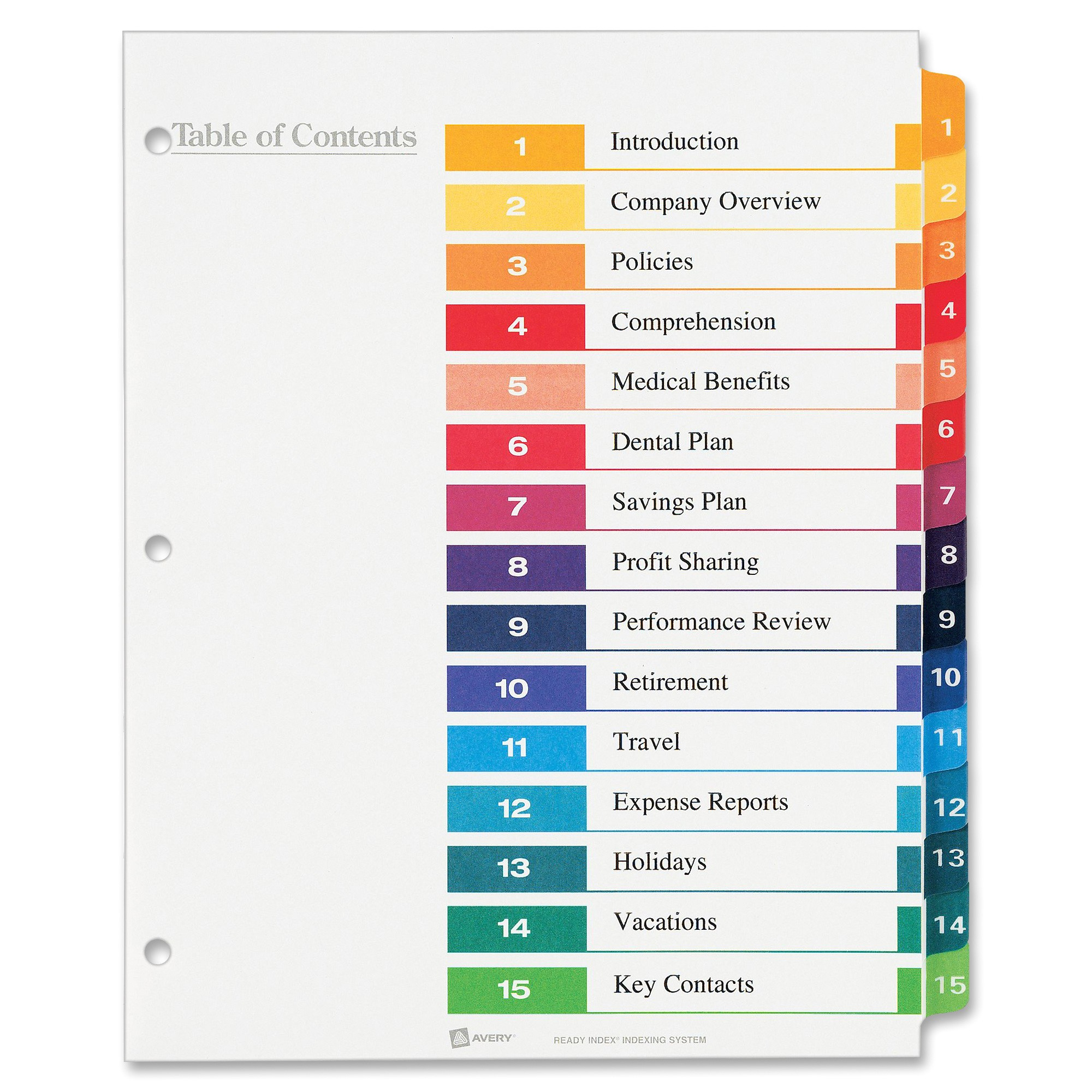 avery ready index customizable table of contents classic multicolor dividers ave11197
