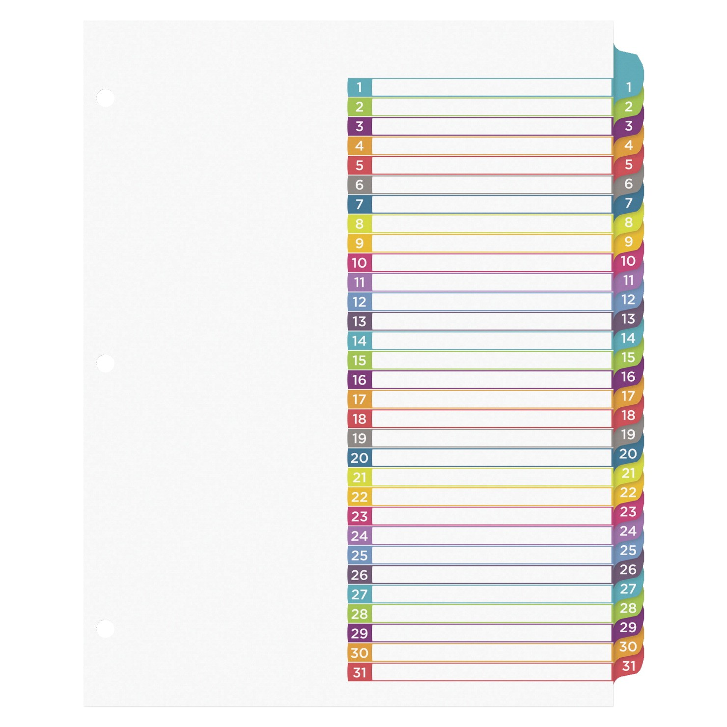 Avery Table Of Contents Template 31 Tab Avery Ready Index 1 31 Tab Dividers 31 Tabs Multiple