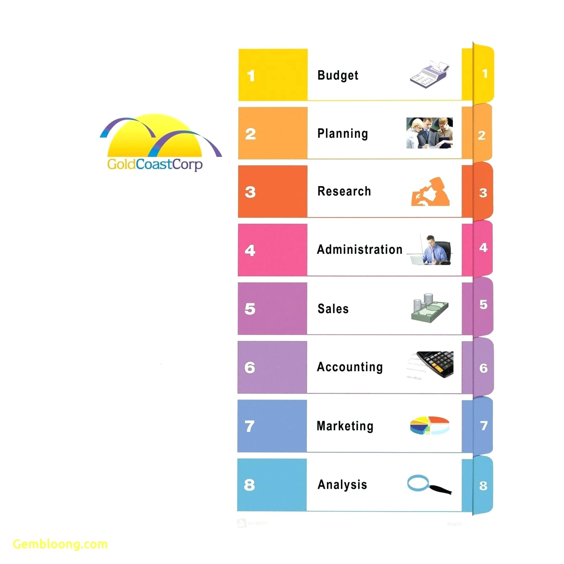Avery Table Of Contents Template 8 Tab Avery 8 Tab Label Template Word Made by Creative Label