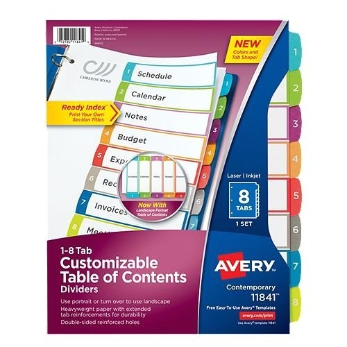 avery ready index customizable table of contents multicolor 1 8 tab preprinted dividers 1 set