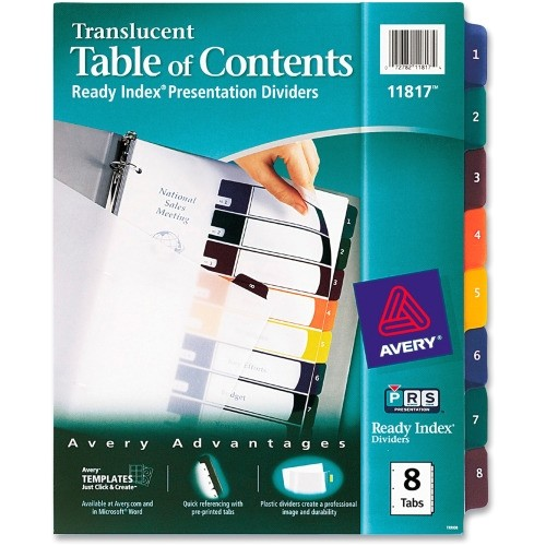 ave11817 office supply avery 8 tab table of contents template