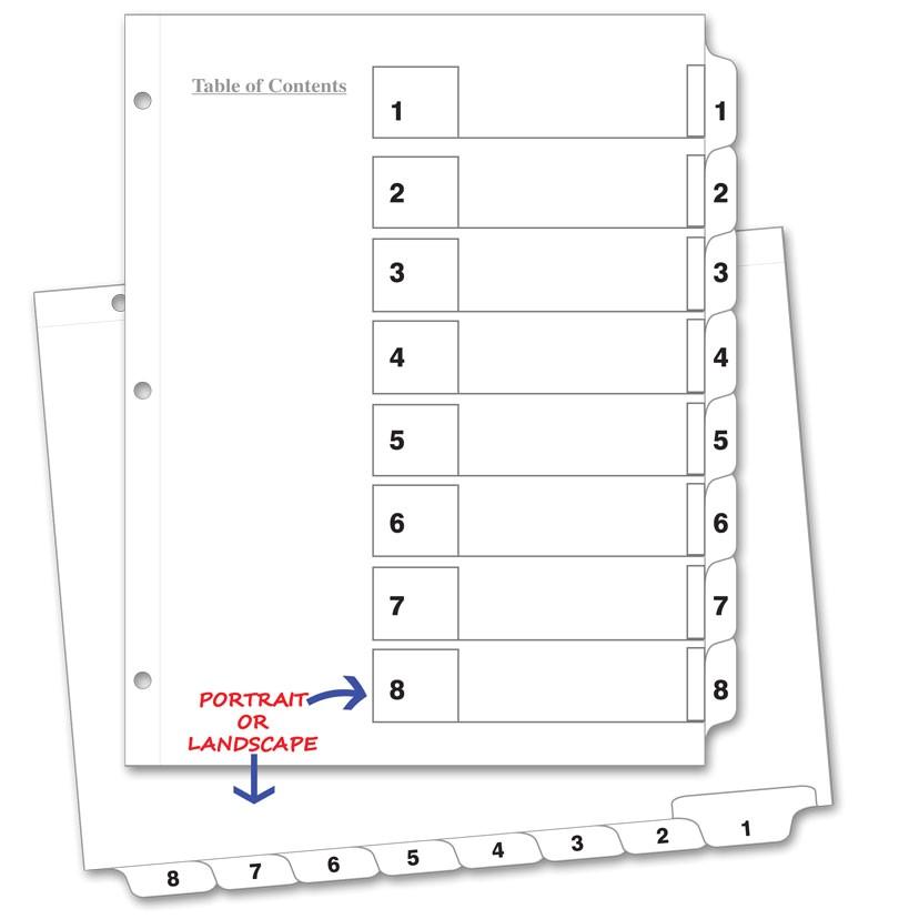 printable 8 tab divider template