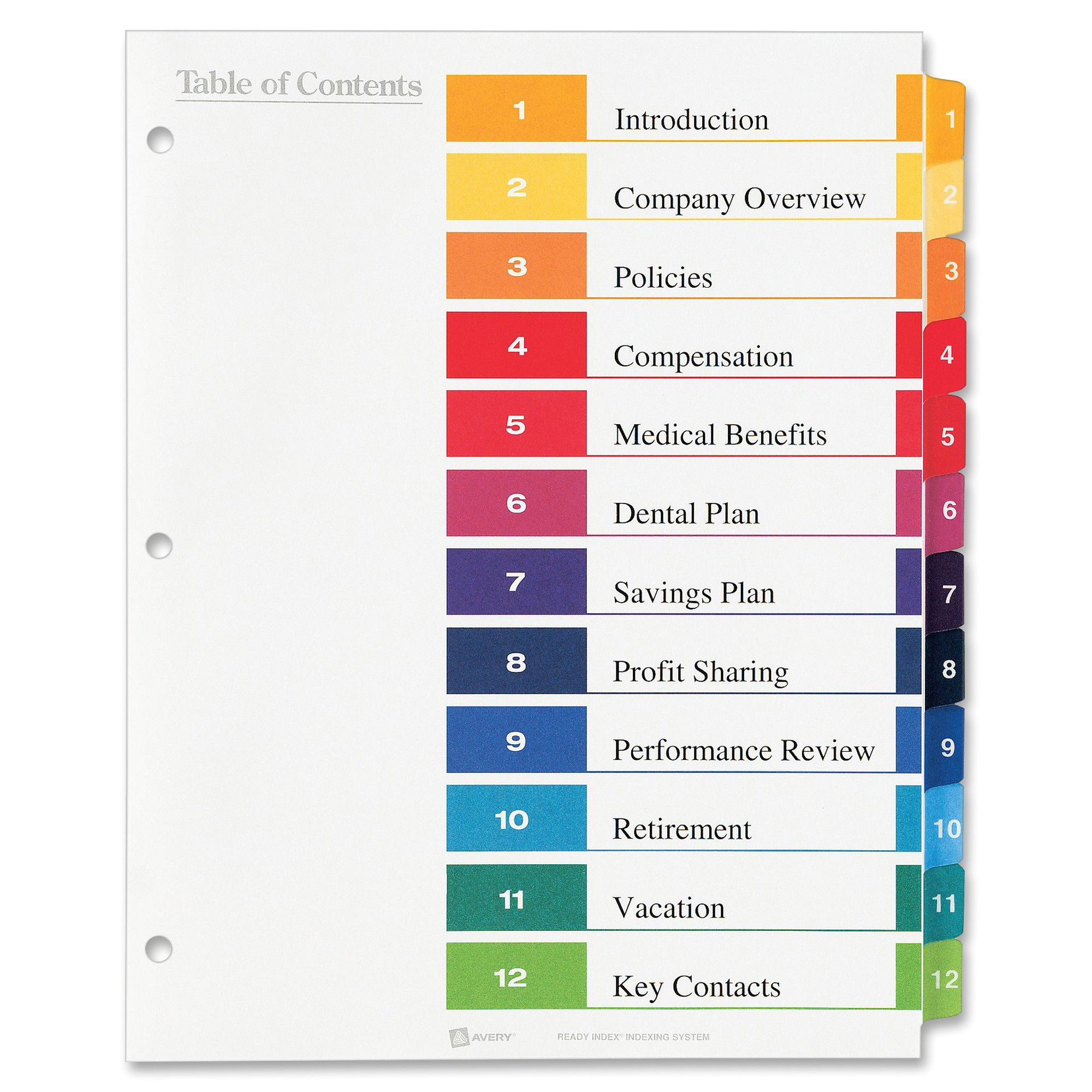 avery ready index table of contents reference dividers ave11196