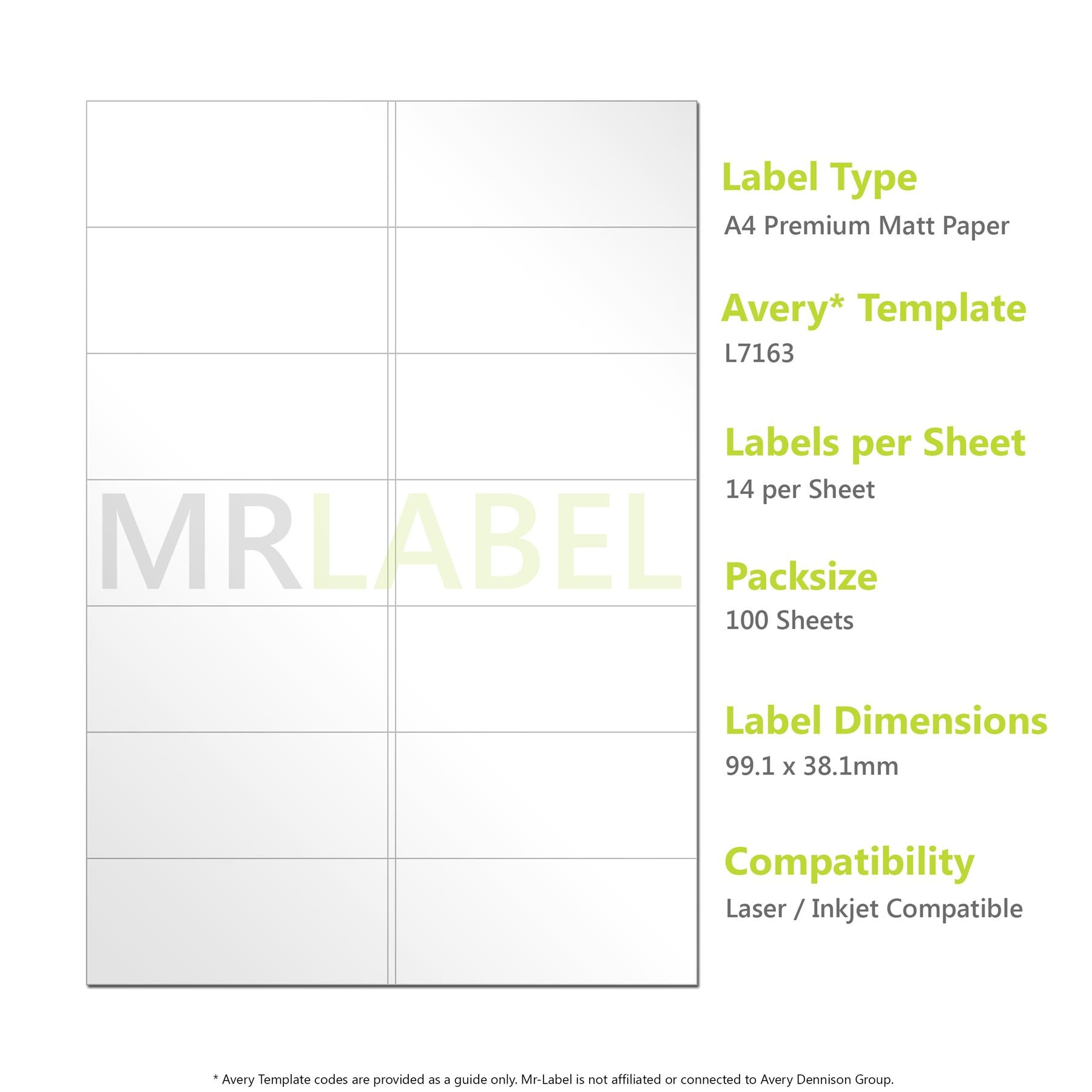 Avery Template 8 Per Page Avery Compatible A4 Self Adhesive Labels L7163 J8163 14