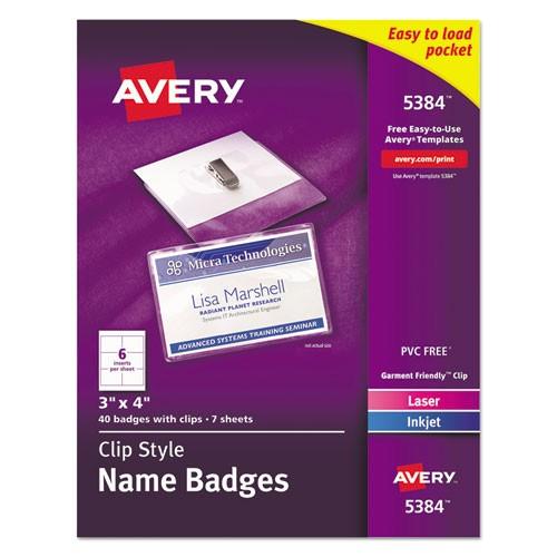 Avery Template for Name Badges Ave5384 Avery Badge Holder Kit W Laser Inkjet Insert Zuma