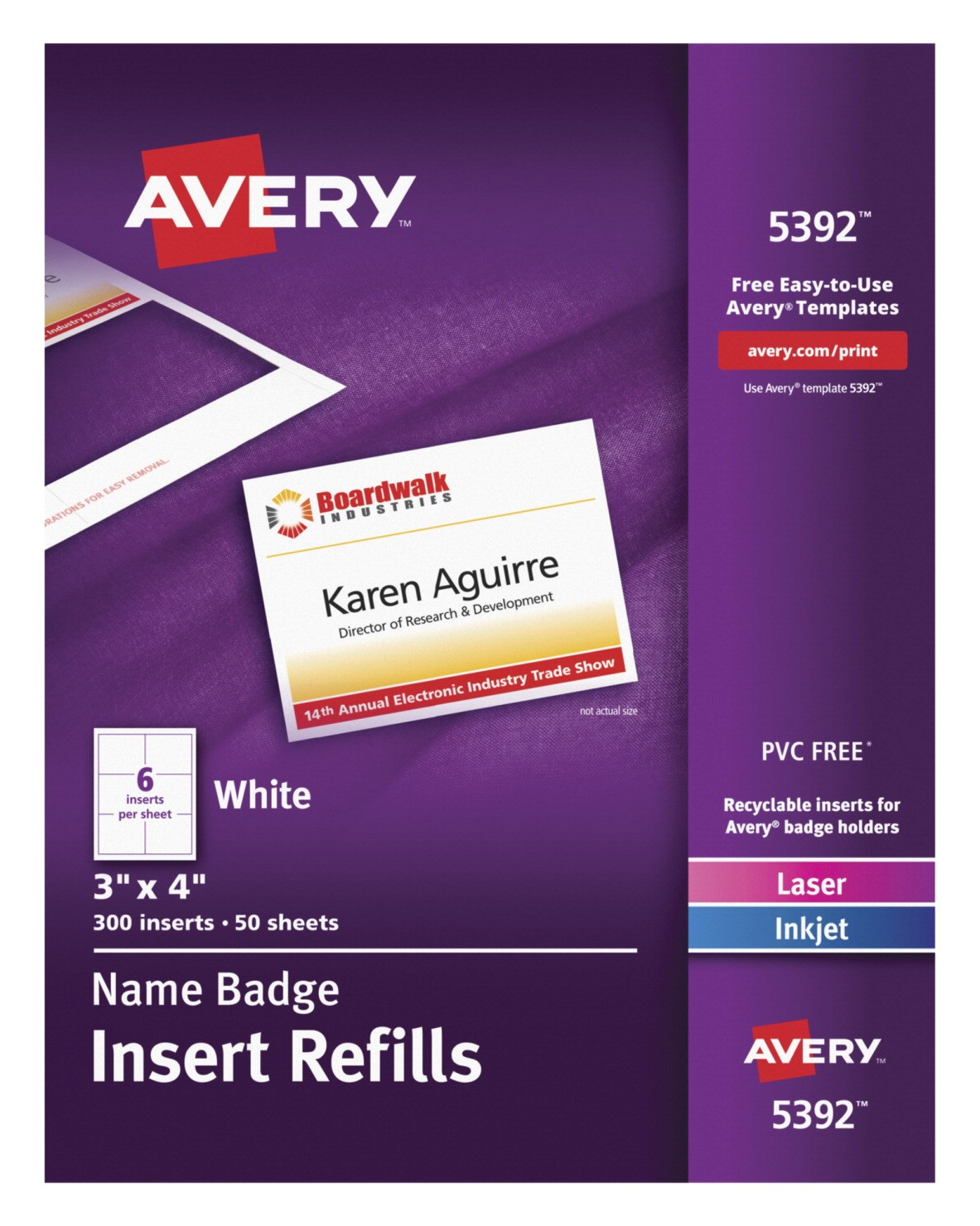 Avery Template for Name Badges Name Badge Insert Refill School Specialty Marketplace
