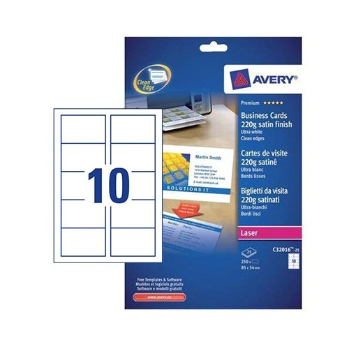 prod 22232 2508 2607 2608 avery quick and clean business cards laser 220gsm 10 per sheet satin colour ref c32016 25 250 cards