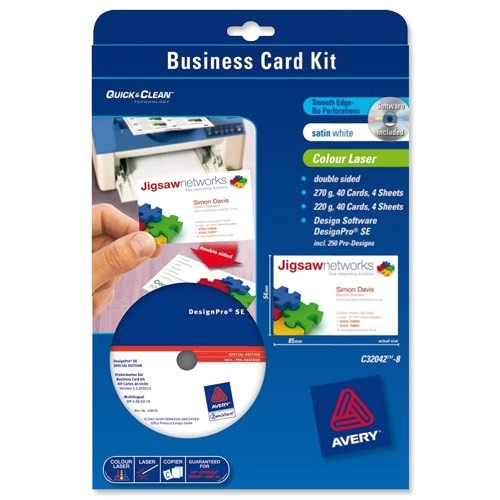 Avery Templates Business Cards 8 Per Sheet Avery Business Card Kit Laser with software and 8 Sheets