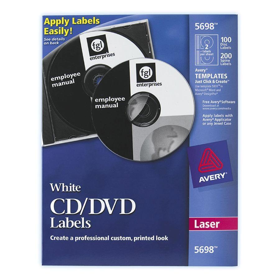 ave 5698 avery laser white matte cd dvd labels