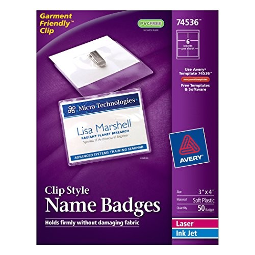 avery toploading garmentfriendly clip style name badges 3 x 4 box of 50 74536 ap b002cmltjk