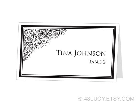 Avery Templates Place Cards Instant Download Avery Place Card Template ornamental