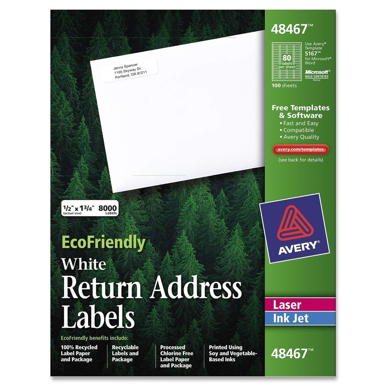Avery Templates Return Address Labels Ecofriendly Return Address Label Avery Dennison 48467