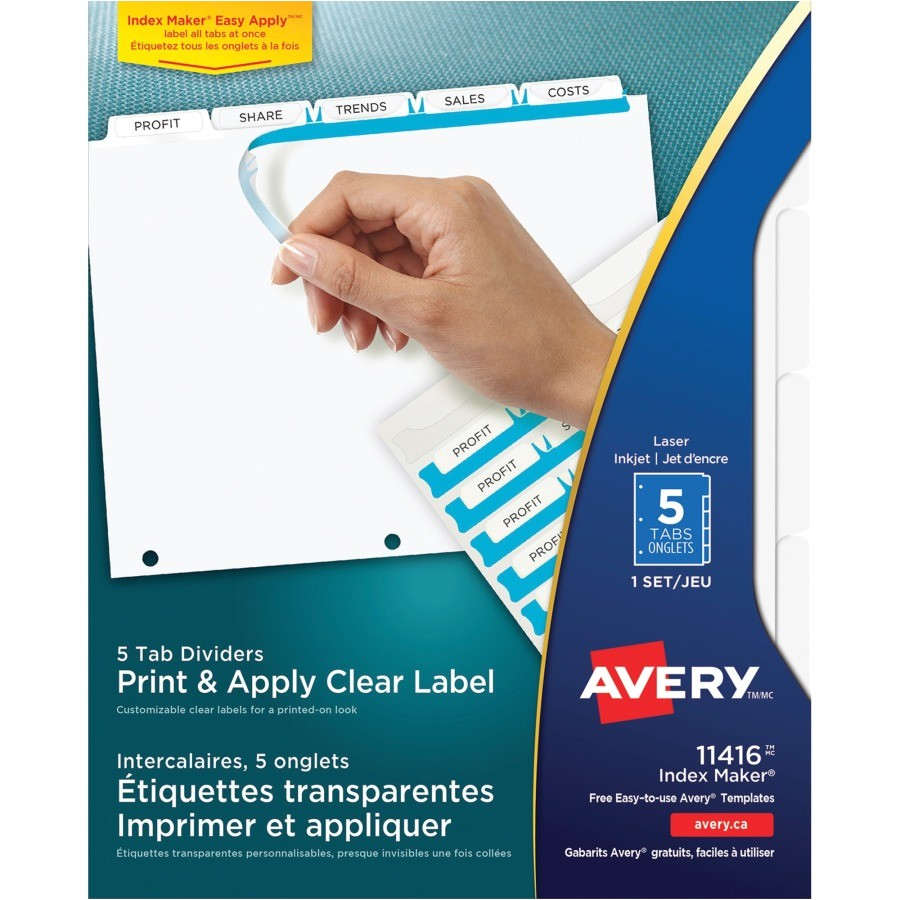 avery index maker print and apply clear label dividers with white tabs ave11416
