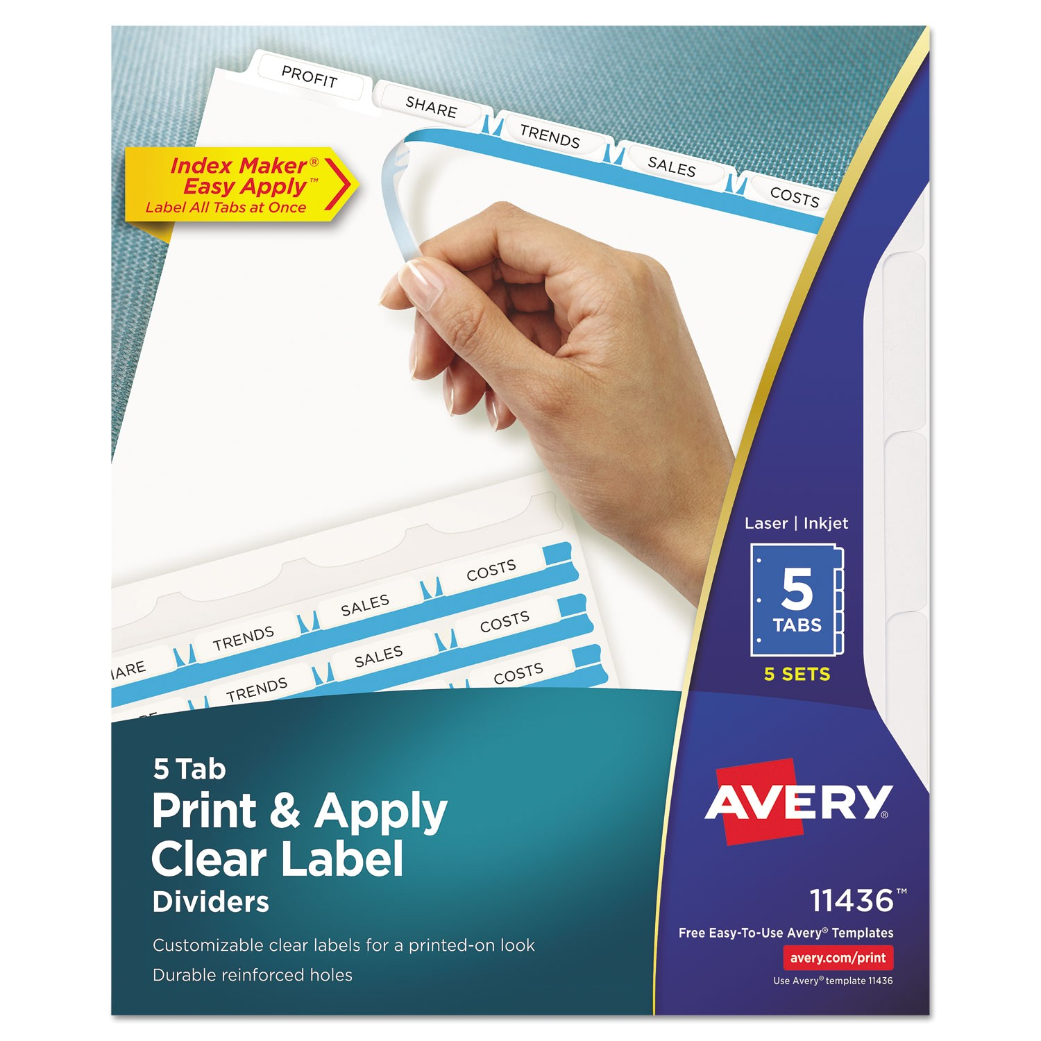 ave11436 index maker clear label dividers 5 tab letter white 5 sets pack