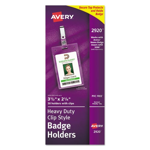 avery secure top clip style badge holders vertical 2 1 4 x 3 1 2 clear 50 box