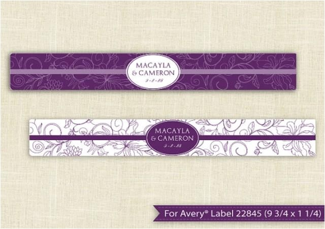 downloadable water bottle label template for avery 22845 9 34 x 1 14 editable text vintage bouquet plum microsoft word