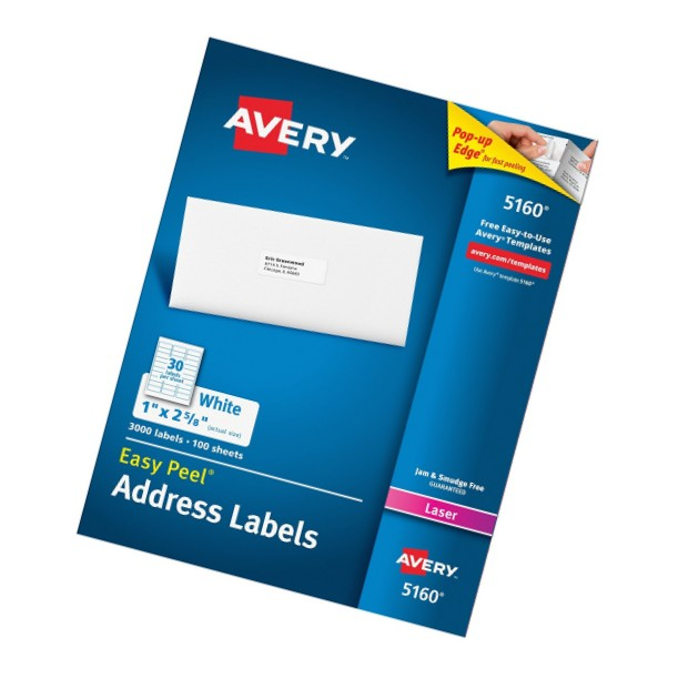 Avery White Address Labels 5160 Template Avery Easy Peel Address Labels for Laser Printers 1 Quot X 2 5