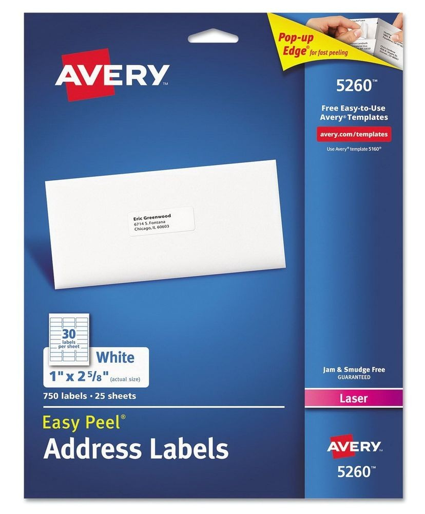 Avery White Address Labels 5160 Template New 750 Avery Laser Address Labels 5160 5260 Easy Peel