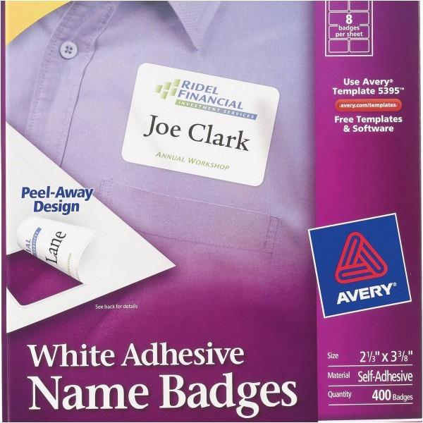 avery white adhesive name badges 5395