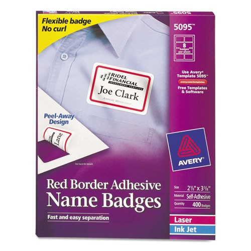 avery red border removable adhesive name badges 5095