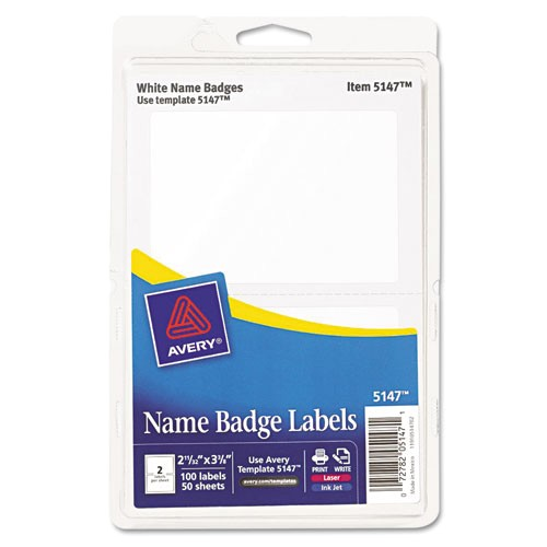 avery removable adhesive print or write name badge labels 5147