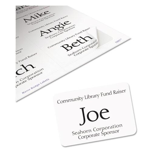 Avery White Adhesive Name Badges 5395 Template Flexible Adhesive Name Badge Labels 2 1 3 X 3 3 8 We
