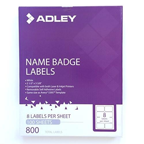 Avery White Adhesive Name Badges 8395 Template Adley Name Badge Labels 800 Per Box 8 Per Sheet Laser